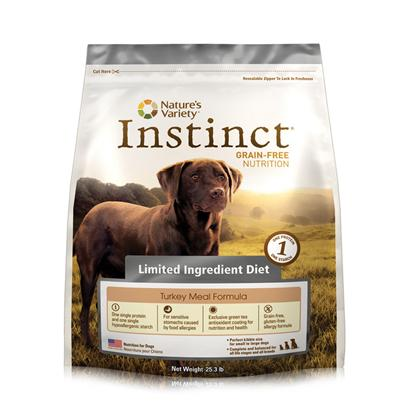 Nature's Variety Presents Nature's Variety Instinct Limited Ingredient Diet Turkey Meal Dry Dog Food 25.3lb. Pure, Instinctive Nutrition for your Dog Nature'S Variety Instinct Grain-Free Limited Ingredient Diet Turkey Meal Formula Dry Dog Food is Specifically Formulated to Provide Dogs of all Breeds, Sizes, Life Stages and Activity Levels with Balanced and Complete Daily Nutrition Necessary for Health Maintenance. Ideal for Dogs with Sensitive Stomachs, this Limited Ingredient Diet only Contains One Single Protein and One Single Hypoallergenic Starch Along with Low-Allergen Canola and Coconut Oils. Formulated with the Flavorful Turkey Meal that Dogs Love, this Holistic Dog Food also Contains a Blend of Essential Vitamins, Minerals and Nutritious Oils, which Promote the Development of Healthy Muscles and Strong Bones. Being Grain-Free and Gluten-Free, this Wholesome Formula is also Highly Digestible, which Provides Relief from Common Types of Dog Food Allergy Symptoms. Plus, Each Piece of Instinct Turkey Formula Kibble has been Coated with a Unique Blend of Nature Variety Freeze Dried Raw Food for Added Nutrition and the Delicious Flavor that all Dogs Love. Nourish your Dog with the Flavor they Crave and the Nutrition they Need by Feeding them Instinctively with Nature'S Variety Instinct Grain-Free Limited Ingredient Diet Turkey Meal Formula Dry Dog Food. [36044]