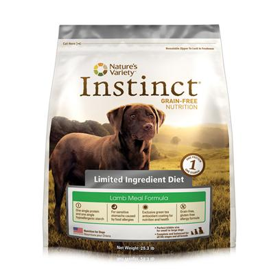 Nature's Variety Presents Nature's Variety Instinct Limited Ingredients Diet Lamb Meal Dry Dog Food 25.3lb. Pure, Instinctive Nutrition for your Dog Nature'S Variety Instinct Grain-Free Limited Ingredient Lamb Meal Formula Dry Dog Food is Specifically Developed to Provide Dogs of all Breeds, Sizes, Life Stages and Activity Levels with Balanced and Complete Daily Nutrition Necessary for Health Maintenance. Ideal for Dogs with Sensitive Stomachs, this Limited Ingredient Diet only Contains One Single Protein and One Single Hypoallergenic Starch Along with Low-Allergen Canola and Coconut Oils. Formulated with the Savory Lamb Meal that Dogs Love, this Holistic Dog Food also Contains a Blend of Essential Vitamins, Minerals and Nutritious Oils, which Promote the Development of Healthy Muscles and Strong Bones. This Formula is also Highly Digestible, Grain-Free and Gluten-Free, which Helps to Provide Relief from Common Types of Dog Food Allergy Symptoms. Plus, Each Piece of Instinct Lamb Formula Kibble has been Coated with a Unique Blend of Nature Variety Freeze Dried Raw Food for Added Nutrition and the Delicious Flavor that all Dogs Love. Nourish your Dog with Flavorful, Delicious and Healthy Meals that they Need and Deserve by Feeding them Instinctively with Nature'S Variety Instinct Grain-Free Limited Ingredient Diet Lamb Meal Formula Dry Dog Food. [36047]