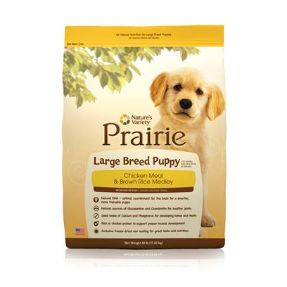 Nature's Variety Presents Nature's Variety Prairie Large Breed Chicken Meal &amp; Brown Rice Puppy Food Puppy-30lb Bag (36052). Nature's Variety Prairie Large Breed, Chicken Meal &amp; Brown Rice Puppy Food. Perfect for Large Breed Puppies(1-24 Months, More than 50 Lb at Maturity) [36052]