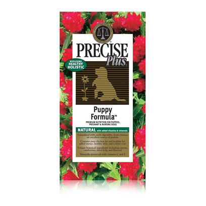 Precise Presents Precise Plus Puppy Dry Dog Food 16.5lb Bag. Precise Plus Puppy is a Meal Made to Aid your Puppy's Mental and Physical Development During Those Crucial Months. Using all-Natural Ingredients, this Meal Undergoes a Holistic Preparatory Process to Ensure that your Pet Gets all the Necessary Nutrients his Body Needs. To Further Enhance the Meal, Precise Adds Other Unique Ingredients Like Botanicals and Probiotics to Promote Good Digestion. With a Rich Chicken Flavor, Precise Plus Puppy is an Excellent Way to Perk Up your Puppy's Immune System and Get Him Started on a Healthy Life-Style. Primary Protein Source Chicken Primary Carb Source Chicken Analysis Crude Protein 32.00% (Min); Crude Fat 18.00% (Min); Crude Fiber 3.50% (Max); Moisture 10.00% (Max); Calcium (Ca) 1.20% (Min); Phosphorus (P) 1.00% (Min); Omega-6 Fatty Acids 3.25% (Min)*; Omega-3 Fatty Acids 0.55% (Min)* [36056]