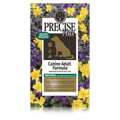 Precise Presents Precise Plus Canine Adult Dry Dog Food 33lb Bag. Designed to Provide your Adult Dog with a Complete and Balanced Meal, Precise Plus' Adult Formula is One of the Most Highly Recommended Foods on the Market. Using only the Finest Ingredients and Carefully Chosen Herbs, this Meal Helps to Promote your Pet's Immune System. As your Pet Ages, his Needs also Change and Precise Plus Adult Meets Those Needs. Available in Great Flavors Like Lamb and Sweet Potato, your Pet will have a New Favorite. Filled with the Vitamins, Minerals and Proteins Needed to Maintain a Healthy Life-Style, Precise Plus Adult Pet Food is a Sure Way to Keep your Best Friend Happy and Healthy. Primary Protein Source Chicken Primary Carb Source Chicken Analysis Crude Protein (Min) 26.00%; Crude Fat (Min) 16.00%; Crude Fiber (Max) 3.50%; Moisture (Max) 10.00%; Calcium (Min) 1.20%; Phosphorus (Min) 0.95%; Omega-6 Fatty Acids (Min) 2.95%*; Omega-3 Fatty Acids (Min) 0.53%*; Glucosamine (Min) 350 Mg/Kg*; Chondroitin Sulfate (Min) 275 Mg/Kg* [36064]
