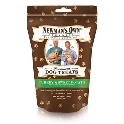 Newman's Own Presents Newman's Own Organics Turkey and Sweet Potato Dog Treats 13oz. One of the Healthiest and Safest Treats for your Dog on the Market Today is NewmanS Own Organics Dog Treats. Made from Organic Ingredients, these Treats are Packed with Nutrients to Boost your PetS Immune System and Keep her Happy and Healthy. Available in Great Flavors Like Chicken, Cheese, Peanut Butter, Salmon and Sweet Potato, Turkey and Sweet Potato, Chicken and Rice, and Chicken and Vegetables, your Dog will do Anything for just One More. Nutritious and Delicious, NewmanS Own Organics Dog Treats are the Perfect Option to Encourage Good Behavior in your Dog. Primary Protein Source Turkey Primary Carb Source Turkey Analysis Crude Protein 11.0% (Min) Crude Fat 8.0% (Min) Crude Fiber 6.0% (Max) Moisture 10.0% (Max) [36098]