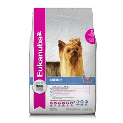 P&G Presents Eukanuba Yorkshire Terrier Dry Dog Food 14lb Bag. Eukanuba Yorkshire Adult Dog Food is Specifically Made to Nourish the Overall Health Including Dental, Skin & Coat, and Immune System Health of the Yorkshire Terrier (also Ideal for Long-Coated Toy Dogs Such as the Shih Tzu, Maltese, Toy Poodle, Pekinese, Havanese, and Lhaso Apso). The Eukanuba 3d Dentadefense Kibbles Brush Teeth Reducing Plaque, and they have Micro-Cleansing Crysals to Reduce Tartar Build-Up… Keeping Teeth Healthy. Just Like you, your Dog can Benefit from Preventative Measures to Help Keep Teeth and Gums Healthy Like Prefessional Check-Ups and Cleaning by your Vet, Daily Brushing and Diets and Treats that Offer Extra Cleaning Benefits Like Eukanuba 3d Dentadefense. This Formula Provides Omega Fatty Acids, Zinc and Copper for Healthy Skin and a Beautiful Coat; Powerful Antioxidants Such as Vitamin E and Added Nutrients Like Fos* Help your Yorkie Maintain a Strong Immune System and Digestive Health to Support its Longer Lifespan.Eukanuba Yorkshire Adult Dog Food is a Scientifically Advanced Formula for Peak Performance Dentadefense 3d Dentadefense is Proven to Reduce Tartar Build-Up in 28 Days Immune Health Antioxidants Help Promote your Dog's Immune System and Keep it Strong Lean Muscles High Quality Animal-Based Proteins Help Build Strong, Lean Muscles Strong Bones Contains Calcium to Promote Strong Bones Optimal Weight Excellent Nutritional Balance of Fats, Carbohydrate, Vitamins & Minerals and Protein Skin & Coat Plus Guaranteed Zinc, Copper and Levels of Omega Fatty Acids to Help Promote Skin Health and Coat Lustre [36104]