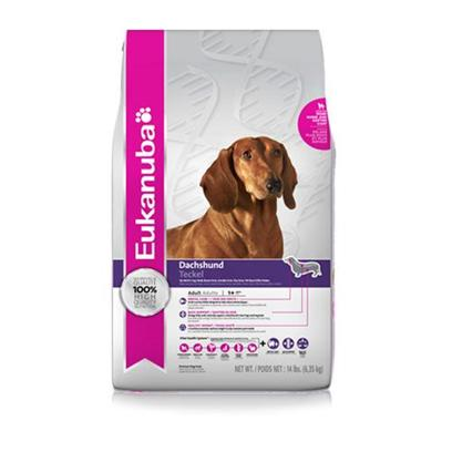 P&amp;G Presents Eukanuba Dachshund Dry Dog Food 14lb Bag. Eukanuba Dachshund Adult Dog Food is Specifically Made for Adult Dachshund's and is also Ideal for Corgis, Dandie Dinmont Terriers, Australian Terriers, Skye Terriers and Petit Basset Griffon Vendeens. Omega Fatty Acids Natually Support a Dachshund's Short Legs and Long Back and Proprietary Levels of L-Carnitine Help Naturally Burn Fat. Extra Essentail Dental Minerals Help Maintain Strong and Healthy Teeth.Eukanuba Dachshund Adult Dog Food is a Scientifically Advanced Formula Dog Food for Peak Performance.Healthy Benefits Include Dentadefense - 3d Dentadefense is Proven to Reduce Tartar Build Up in 28 Days. Optimal Digestion - Fiber from a Blend of Natural Beet Pulp and Prebiotic Fos Promotes Nutrient Absorption and Digestive Health Immune Health - Antioxidants Help Promote your Dog's Immune System and Keep it Strong. Strong, Lean Muscles - High Quality Animal-Based Proteins Help Build Strong, Lean Muscles to Target Optimal Body Condition. Strong Bones - Contains Calcium to Promote Strong Bones. Optimal Weight - Excellent Nutritional Balance of Fats, Carbohydrates, Vitamins &amp; Minerals and Protein. Skin &amp; Coat - Contains Omegacoat, Guaranteed Optimal Levels of Omega 6 and 3 Fatty Acids Promote Healthy Skin and Radiant Coat.The Eukanuba 3d Dentadefense Kibbles Brush Teeth Reducing Plaque, and they have Micro-Cleansing Crysals to Reduce Tartar Build-Up Keeping Teeth Healthy. Just Like you, your Dog can Benefit from Preventative Measures to Help Keep Teeth and Gums Healthy Like Prefessional Check-Ups and Cleaning by your Vet, Daily Brushing and Diets and Treats that Offer Extra Cleaning Benefits Like Eukanuba 3d Dentadefense. [36105]