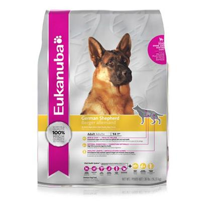 P&amp;G Presents Eukanuba German Shepherd Dry Dog Food 36lb Bag. Eukanuba German Shepherd is Specifically Made to Nourish the Overall Health of the Gsd (also Ideal for Breeds Such as the Belgian Malinois, Belgian Sheepdog, Belgian Tervuren that Share Many of the Same Physical Characteristics and Nutritional Needs). The Eukanuba 3d Dentadefense Kibbles Brush Teeth Reducing Plaque, and they have Micro-Cleansing Crystals to Reduce Tartar Build-Up Keeping Teeth Healthy. Just Like you, your Dog can Benefit from Preventative Measures to Help Keep Teeth and Gums Healthy Like Professional Check-Ups and Cleaning by your Vet, Daily Brushing, and Diets and Treats that Offer Extra Cleaning Benefits Like Eukanuba with 3d Dentadefense. To Help Promote Digestive Health, Maintain Lean Body Mass and Nurture Joints this Formula Provides a Special Blend of Vegetable Fiber Including Fos* (Fructooligosaccharides), L-Carnitine (a Natural Fat Burner), and High Levels of Glucosamine and Chondroitin Sulfate. Feeding Eukanuba German Shepherd will Help your Dog be as Healthy and Vibrant as your German Shepherd was Bred to Be.Eukanuba German Shepherd Adult Dog Food is a Scientifically Advanced Formula for Peak Nutritional Performace. Key Benefits Include Dentadefense 3d Dentadefense is Proven to Reduce Tartar Build-Up in 28 Days Optimal Digestion Fiber from a Blend of Natural Beet Pulp and Prebiotic Fos* Promotes Nutrient Absorption and Digestive Health Immune Health Antioxidants Help Promote your Dog's Immune System and Keep it Strong Lean Muscles High Quality Animal-Based Proteins Help Build Strong, Lean Muscles to Target Optimal Body Condition Strong Bones Contains Calcium to Promote Strong Bones Optimal Weight Excellent Nutritional Balance of Fat, Carbohydrate, Vitamins &amp; Minerals and Protein Skin &amp; Coat Contains Omegacoat, Guaranteed Optimal Levels of Omega 6 and 3 Fatty Acids for Healthy Skin and Radiand Coat [36106]