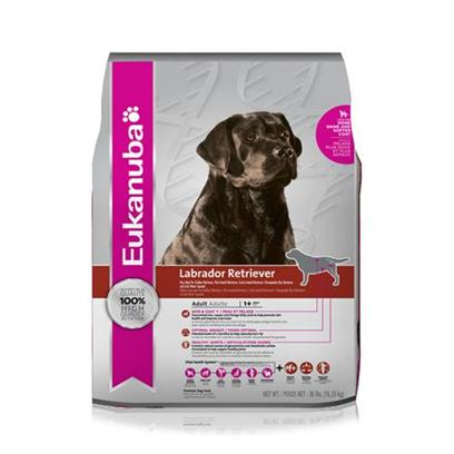 P&G Presents Eukanuba Labrador Retriever Dry Dog Food 36lb Bag. Eukanuba Labrador Retriever is Specifically Made to Nourish the Overall Health, Including Oral Health, Healthy Weight, Mobility and Immune System Strength of Labrador Retrievers (also Ideal for Golden, Flat-Coated, Curly-Coated and Chesapeake Bay Retrievers and Irish Water Spaniels). The Eukanuba 3d Dentadefense Kibbles Brush Teeth Reducing Plaque, and they have Micro-Cleansing Crystals to Reduce Tartar Build-Up... Keeping Teeth Healthy. Just Like you, your Dog can Benefit from Preventative Measures to Help Keep Teeth and Gums Healthy Like Prefessional Check-Ups and Cleaning by your Vet, Daily Brushing and Diets and Treats that Offer Extra Cleaning Benefits Like Eukanuba 3d Dentadefense. This Food Naturally Provides High Levels of Glucosamine and Chondroitin Sulfate to Support Joint Health and is Rich in Antioxidants Such as Vitamin E, to Help Support the Immune System. L-Carnitine, a Fat Burner, Helps Maintain a Healthy Weight and Lean Body Condition. Feeding Eukanuba Labrador Retriever will Help Keep your Dog as Healthy, Vibrant and Active as Labradors were Bred to Be.Eukanuba Labrador Retriever Adult Dog Food is a Scientifically Advanced Formula for Peak Performance Dentadefense 3d Dentadefense is Proven to Reduce Tartar Build-Up in 28 Days Optimal Digestion Fiber from a Blend of Natural Beet Pulp and Prebiotic Fos* Promotes Nutrient Absorption and Digestive Health Immune Health Antioxidants Help Promote your Dog's Immune System and Keep it Strong Lean Muscles High Quality Animal-Based Proteins Help Build Strong, Lean Muscles to Target Optimal Body Condition Strong Bones Contains Calcium to Promote Strong Bones Chondroprotectives Contains Guaranteed Levels of Glucosamine and Chondroitin Sulfate Optimal Weight Excellent Nutritional Balance of Fat, Carbohydrate, Vitamins & Minerals and Protein Skin & Coat Contains Omegacoat, Guaranteed Optimal Levels of Omega 6 and 3 Fatty Acids for Healthy Skin and Radiand Coat [36107]
