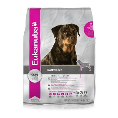 P&G Presents Eukanuba Rottweiler Dry Dog Food 36lb Bag. Eukanuba's Dog Food is Designed Specifically with your Dog in Mind. Made to Keep your Dog Happy and Healthy, Eukanuba Packs their Meals with only the Finest all-Natural Ingredients. The Formulas Vary to Take into Account the Different Dietary Needs of Different Dog Breeds, Like Boxers, Dachshunds, German Shepherds, Labrador Retrievers, Rottweilers, Spaniels and Yorkshire Terriers. Rich in Flavor and Nutrients, the Fine Blending of Meat and Vegetables Makes this Meal Mouthwatering. For the Discerning Pet Owner who Wants to Give her Pet a Great Meal that's Both Healthy and Delicious, Eukanuba's Line-Up of Dog Food is Sure to Boost your Meet your Needs. Primary Protein Source Chicken Primary Carb Source Chicken Analysis Crude Protein, Minimum 25.00%Crude Fat, Minimumcrude Fiber, Maximum 5.00%Moisture, Maximum 10.00%Vitamin E, Minimum 140 Iu/Kgl-Carnitine, Minimum 30 Mg/Kg*Omega-6 Fatty Acids, Minimum 2.0%*Omega-3 Fatty Acids, Minimum 0.3%*Glucosamine, Minimum 375 Mg/Kg*Chondroitin Sulfate, Minimum 35 Mg/Kg**not Recognized as an Essential Nutrient by the Aafco Dog Food Nutrient Profiles. [36109]