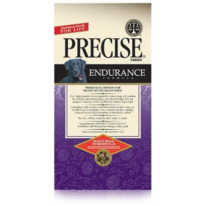 Precise Presents Precise Canine Endurance 30/20 40lb Bag. Precise Canine Endurance is a Formula Made for Dogs that Need an Energy Boost. Containing 30% More Protein than the Usual Meal, Precise Canine Endurance Helps to Increase your Dog's Stamina and Maintain his Weight. In Addition, this Meal Uses only Top Quality Ingredients, from the Chicken Meat to the Grains that are Certified Easy-to-Digest. Providing your Pet with More Energy is Made Easier than Ever with the Endurance Formula from Precise. Primary Protein Source Chicken Primary Carb Source Chicken Analysis Crude Protein (Min) 30.00%; Crude Fat (Min) 20.00%; Crude Fiber (Max) 3.50%; Moisture (Max) 10.00%; Calcium (Min) 1.35%; Phosphorus (Min) 1.10%; Omega-6 Fatty Acids (Min) 3.60%*; Omega-3 Fatty Acids (Min) 0.58%*; Ascorbic Acid (Vitamin C) (Min) 25 Mg/Lb*; Glucosamine (Min) 350 Mg/Kg*; Chondroitin Sulfate (Min) 275 Mg/Kg [36122]