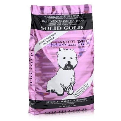 Solid Gold Presents Solid Gold just a Wee Bit Small Breed Adult Dry Dog Food 15lb Bag. Big Flavor and Nutrition for Small Breeds Give your Small Breed Dog an all Natural Meal Packed with Vitamins, Minerals, and Big Bison Flavor! Specially Formulated to Boost Energy and Total Health in Small Dogs, this Holistic Food is Made with Bison, Salmon Meal, Brown Rice, and Barley for a High-Protein, Grain-Free Meal. The Small Kibble Size is Perfect for Small Mouths, and Since just a Wee Bit Adult Small Breed Dry Food is a Certified Complete and Balanced Meal, youLl Feel Good Giving it to your Dog. [36134]