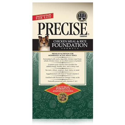 Precise Presents Precise Canine Foundation Dry Dog Food 30lb Bag. One of the Best Meals Ever Produced for Pets is Precise Canine Foundation. Using a Holistic Method of Preparation, Precise Canine Foundation Uses 100 % Natural Ingredients that are Sure to Boosts your Pet's Vitality. An Inviting Meal for Even Finicky Pets, the Fine Texture, Taste and Aroma of this Meal will Surely Increase your Dog's Appetite. With 90% Digestibility, and with all the Nutrients Needed to Develop Firm Muscles and Stronger Bones, Precise Canine Foundation is Designed to Keep your Pet Happy and Healthy. Primary Protein Source Chicken Primary Carb Source Chicken Analysis Crude Protein (Minimum)24.00%Moisture (Maximum)10.00%Crude Fat (Minimum)14.00%Crude Fiber (Maximum)3.50% [36137]
