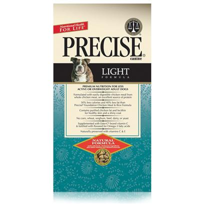 Precise Presents Precise Canine Light Dry Dog Food 30lb Bag. A Healthy Meal for Dogs that are Less Active and/or Overweight, Precise Canine Light is the Perfect Dietary Meal to Help Keep your Dog's Weight under Control. Formulated to Help Maintain your Pet's Ideal Weight, this Meal has Reduced Protein and Fat, Cutting out all the Added Fiber and Filler in its Content. Made from Whole Grain and Real Meat, your Pet will Find this Meal Easy to Digest. For Pets with Weight Problems, Precise Canine Light is the Perfect Solution. Primary Protein Source Chicken Primary Carb Source Chicken Analysis Crude Protein (Min) 18.00%; Crude Fat (Min) 7.00%; Crude Fat (Max) 9.00%; Crude Fiber (Max) 8.00%; Moisture (Max) 10.00%; Calcium (Min) 1.00%; Phosphorus (Min) 0.80%; Omega-6 Fatty Acids (Min) 1.85%*; Omega-3 Fatty Acids (Min) 0.30%*; Ascorbic Acid (Vitamin C) (Min) 25mg/Lb* [36140]