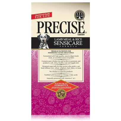 Precise Presents Precise Canine Sensicare Dry Dog Food 30lb Bag. For Dogs with Food Allergies Precise Gives us Canine Senicare. This Formula is Completely Free from Grains Such as Wheat, Corn and Soy, and the Meat Proteins that Most Commonly Cause Allergies. One of the Most Common Allergic Reactions Among Dogs is the Development of Flaky Skin. To Help Maintain Prevent this, Senicare also Contains Lecithin to Help Produce Shinier Coats and Healthier Looking Skin. Keep your Pet Happy and Healthy Despite Allergies with Precise Canine Senicare. Primary Protein Source Lamb Primary Carb Source Lamb Analysis Crude Protein 22.00% (Min), Crude Fat 12.00% (Min), Crude Fiber 4.50% (Max), Moisture 10.00% (Max), Calcium (Ca) 1.45% (Min), Phosphorus (P) 1.20% (Min), Omega-6 Fatty Acids 2.35% (Min)*, Omega-3 Fatty Acids 0.47% (Min)*, Ascorbic Acid (Vitamin C) 25 Mg/Lb (Min)* [36143]