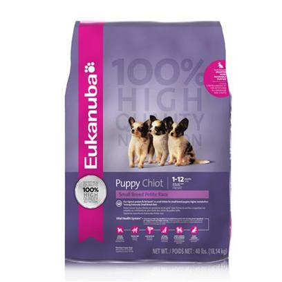P&amp;G Presents Eukanuba Small Breed Puppy Dry Dog Food 40lb Bag. The Eukanuba Vital Health System Targets Six Essential Health Functions, Delivering Nutrients for Optimal Healthy Every Day.Sensory/Mental Health-Supports Optimal Brain and Vision Development with Levels of Dha, a Key Brain-Building Nutrient.Vital Organ Health- Supports Healthy Development of Vital Organs and Immune Cells with Antioxidants Vitamin E.Digestive Health-Provides a Special Fibers, Beet Pulp and Fos, that Work with the Body's Natural Defenses to Help Strengthen the Digestive Tract.Oral Health- Formulated with Essential Vitamins and Minerals to Help Small Breed Puppies Develop Strong Teeth.Skin and Coat Health-Omegacoat, Promotes a Soft, Healthy Coat with an Optimal Ratio of Omega Fatty Acids.Bone and Muscle Health- Fortified with Vitamins and Minerals to Help Build Strong Bones and Lean Muscle Mass. Animal Feeding Tests Using American Feed Control Official Procedures Substantiate that Eukanuba Puppy Small Breed Formula Dog Food Provides Complete and Balanced Nutrition for all Life Stages. [36181]