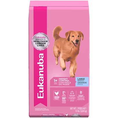 P&amp;G Presents Eukanuba Adult Large Breed Weight Control Dry Dog Food 15lb Bag. Eukanuba Adult Large Breed Weight Control Formula Dog Food is a Complete and Balanced Diet for Large Breed Adult Dogs (1 Year and Older Weighing More than 50 Lbs.) Requiring Nutritional Weight Management. Eukanuba Adult Large Breed Weight Control Formula Dog Food has 31% Less Fat than Eukanuba Large Breed Adult Formula, to Help Maintain a Healhty Weight. Chicken Protein is a Key Ingredient to Build and Maintain Lean Muscle Mass for Top Body Condition. Eukanuba Adult Large Breed Weight Control Formula Dog Food is a Scientifically Advanced Formula to Provide Peak Nutritional Performance.High Quality Ingredients Offer Healthy Benefits Dentadenfense - 3d Dentadefense is Proven to Reduce Tartar Build-Up Optimal Digestion - Fiber from a Blend of Natural Beet Pulp and Prebiotic Fos Promotes Nutrient Absorption and Digestive Health. Immune Health - Antioxidants Help Promote your Dog's Immune System and Keep it Strong. Strong, Lean Muscles - High Quality Animal-Based Proteins Help Build Strong, Lean Muscles to Target Optimal Body Condition. Strong Bones - Contains Calcium to Promote Strong Bones. Optimal Weight - Excellent Nutritional Balance of Fats, Carbohydrates, Vitamins and Minerals and Protein. Skin &amp; Coat - Contains Omegacoat, Guaranteed Optimal Levels of Omega 6 and 3 Fatty Acids Promote Healthy Skin and Radiant Coat. [36271]
