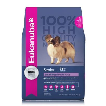 P&amp;G Presents Eukanuba Small Breed Senior Dry Dog Food 16lb Bag. Eukanuba Small Breed Senior Dog Food is Formulated just for Small Breed Dogs 7 Years and Older. Chicken is the First Ingredient Offering a Natural Source of Glucosamine and this High Quality Protein Source is a Key Ingredient to Build and Maintain Lean Muscle Mass for Top Body Condition. Guaranteed Vitamin E and Beta Carotene Antioxidants Help Boost the Immune Response of Senior Dogs to that of Healthy Adult Dogs.Eukanuba Small Breed Senior Dog Food is a Scientifically Advanced Formula for Peak Nutritional Performance Dentadefense Technology is Proven to Reduce Tartar Build-Up in 28 Days Optimal Digestion Fiber from a Blend of Natural Beet Pulp and Prebiotic Fos* Promotes Nutrient Absorption and Digestive Health. Strong, Lean Muscles High Quality Animal-Based Proteins Help Build Strong, Lean Muscles to Target Optimal Body Condition Strong Bones Contains Calcium to Promote Strong Bones Optimal Weight Excellent Nutritional Balance of Fats, Carbohydrate, Vitamins &amp; Minerals and Protein Skin &amp; Coat Contains Omegacoat, Guaranteed Optimal Levels of Omega Fatty Acids Promotes Healthy Skin and Radiant Coat [36287]