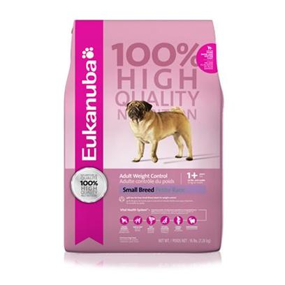 P&amp;G Presents Eukanuba Small Breed Weight Control Dry Dog Food 16lb Bag. Eukanuba Adult Small Breed Weight Control Dog Food is Specifically Made for the Unitque Nutritional Requirements of Small Breed Adult Dogs who Tend to Put on Extra Weight. Eukanuba Adult Small Breed Weight Control Dog Food is a Scientifically Advanced Formula for Peak Nutritional Performance.High Quality Ingredients Offer Healthy Benefits Dentadefense - 3d Dentadefense is Proven to Reduce Tartar Build Up in 28 Days. Optimal Digestion - Fiber from a Blend of Natural Beet Pulp and Prebiotic Fos Promotes Nutrient Absorption and Digestive Health. Immune Health - Antioxidants Help Promote your Dog's Immune System and Keep it Strong. Strong Lean Muscles - High Quality Animal-Based Proteins Help Build Strong, Lean Muscles to Target Body Condition. Strong Bones - Contains Calcium to Promote Strong Bones Optimal Weight - Excellent Nutritional Balance of Fats, Carbohydrates, Vitamins &amp; Minerals, Protein. Skin &amp; Coat - Contains Omegacoat, Guaranteed Optimal Levels of Omega 6 and 3 Fatty Acids Promote Healthy Skin and Radiant Coat. [36289]