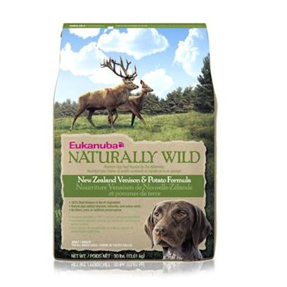 P&amp;G Presents Eukanuba Naturally Wild New Zealand Venison &amp; Potato Adult 30lb Bag. The Gorgeous yet Rugged Landscape of New Zealand Yields Fit and Healthy Wildlife that Dogs Lived off of for Eons. Inspired by this Ancient Cycle, Eukanuba Created New Zealand Venison and Potato Formula, a Natural Dog Food with Vitamins and Minerals Featuring 100% Natural Venison as the Number 1 Ingredient - how Mother Nature Intended. She'd also Approve of the Fact that it Includes no Corn. Instead, Eukanuba Adds Amino Acids and Vitamin E, Plus Potato as a Healthy Carbohydrate Source that is Easy to Digest. Natural Fos (Fructooligosaccharides) Works in your Dog's Digestive Tract to Support Strong Defenses.The Eukanuba 3d Dentadefense Kibbles Brush Teeth Reducing Plaque, and they have Micro-Cleansing Crysals to Reduce Tartar Build-Up Keeping Teeth Healthy. Just Like you, your Dog can Benefit from Preventative Measures to Help Keep Teeth and Gums Healthy Like Prefessional Check-Ups and Cleaning by your Vet, Daily Brushing and Diets and Treats that Offer Extra Cleaning Benefits Like Eukanuba 3d Dentadefense. [36299]
