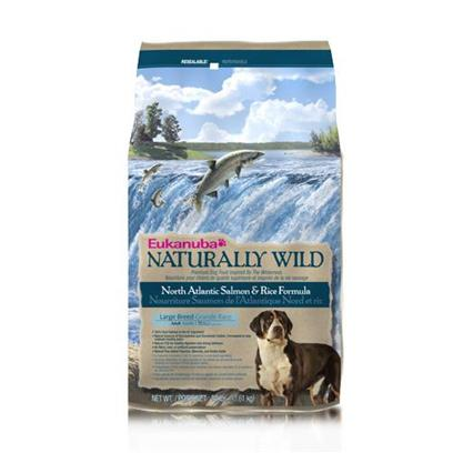 P&amp;G Presents Eukanuba Large Breed Dog Naturally Wild Salmon/Rice 30lb Bag. The Arduous Journey Salmon Make to their Spawning Ground Results in a Lean Source of Protein that Nourished Dogs for Centuries. Today, Animal Protein is Still a Nutritional Building Block for Every Body System your Large Breed Dog Has. Inspired by your Dog's Heritage and Nutritional Needs, Eukanuba's Large Breed Adult North Atlantic Salmon and Rice Formula is Made with 100% Natural Salmon as the Number 1 Ingredient to Nourish your Dog how Mother-Nature Intended. She'd also Approve of the Fact that it's a Great Alternative Source of High Quality Protein and Wholesome Grains that Provide Complete and Balanced Nutrition for Large Breed Dogs. Natural Fos (Fructooligosaccharides) Works in your Dog's Digestive Tract to Support Strong Defenses. Natural Fish Oil Provides Omega-3 Fatty Acids for Healthy Skin and Coat. These Nutrients also Help Support the Immune System.The Eukanuba 3d Dentadefense Kibbles Brush Teeth Reducing Plaque, and they have Micro-Cleansing Crysals to Reduce Tartar Build-Up... Keeping Teeth Healthy. Just Like you, your Dog can Benefit from Preventative Measures to Help Keep Teeth and Gums Healthy Like Prefessional Check-Ups and Cleaning by your Vet, Daily Brushing and Diets and Treats that Offer Extra Cleaning Benefits Like Eukanuba 3d Dentadefense. [36300]
