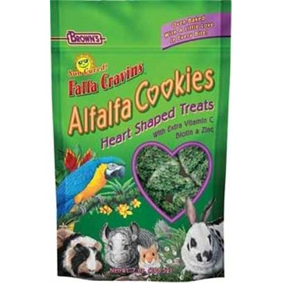 Fm Browns Presents Fm Browns (Brn) Alfalfa Cookies Falfa Cravins 8oz. These Heart Shaped Alfalfa Cookie Treats are Made with Real, Sun Cured Alfalfa and Oven Baked to a Crispy, Crunchy Cookie. They're a Great Source of Fiber and Protein with Extra Vitamin C, Biotin, and Zinc. 8 Oz. [36346]