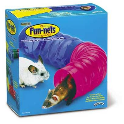 "Super Pet Presents Ferretrail Bubble Maze 2pk. "" Ferretrail Bubble Wave Fun-Nels Maze Includes Both a Tube and Elbow to Create Tunnels of Fun for Ferrets, Guinea Pigs, Pet Rats, Chinchillas and Other Furry Friends. Ferretrail Fun-Nels can be Connected to Each Other Creating a Colorful ""Peek-a-Boo"" Playground System of Tubes, Elbows and Tees. The Ferretrail System was Designed to Provide Many Hours of Stimulation and Fun for Pets through Natural Exercise. Fun-Nels also Provide Pets with a Unique Network of Hiding Places and Tunnels to Explore."" Assorted [36370]"