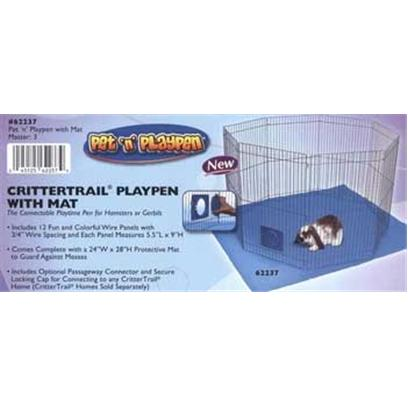 Super Pet Presents Spet Pet N Play Playpen with Mat. New Pet N' Playpen is the Connectable Playtime Pen for Rabbits and Guinea Pigs, Plus with the Optional Passageway Connector and Locking Cap it's Perfect for Ferrets Pet N' Playpen Comes Complete with the Optional Passageway Connector and Locking Cap for Linking Directly to any Ferretrail Home (Ferretrail Fun-Nels Sold Separately) Pet N' Playpen Includes a Protective Playpen Mat that Measures 47&quot;L X 55&quot;W, which Guards Against Messes Pet N' Playpen is Safe and Secure, Perfect for Indoor and Outdoor Use on any Solid Surface Pet N' Playpen Includes over 9 Square Feet of Interactive Playtime Space Pet N' Playpen Includes 8 Wire Panels, Each Panel Measures 18&quot;L X 29&quot;H with 1&quot; Wire Spacing Pet N' Playpen Forms into Multiple Imaginative Shapes &quot;E-Z&quot; Playpen Set-Up and Folds Flat for Storage Pet N Playpen Features &quot;E-Z&quot; Assembly- no Tools Required! [36373]
