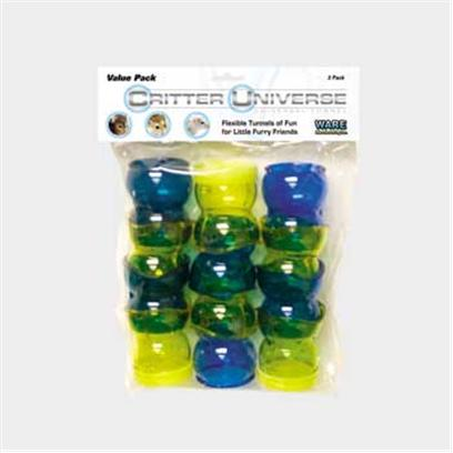 "Ware Manufacturing Presents Critter Universe Value Pack. Flexible Tunnels of Fun for Little Furry Friends. Universally Connects with Other Modular Systems and Accessories. 2""W X 2""D X 8""H 0.20lbs [36377]"