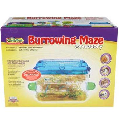 Super Pet Presents Crittertrail Burrowing Maze Accessory. Crittertrail Burrowing Maze is an Interactive Burrowing and Nesting Accessory for Hamsters, Gerbils, Dwarf Hamsters or Pet Mice Crittertrail Burrowing Maze Attaches Directly Onto the Top of all Crittertrail Discovery Clear View Habitats Crittertrail Burrowing Maze also Connects to all Other Crittertrail Habitats Using Crittertrail Fun-Nel Tubes Sold Separately Crittertrail Burrowing Maze Encourages Burrowing and Nesting Activity in Small Pets Crittertrail Burrowing Maze Accessory Measures 14.25&quot;L X 5.5&quot;W X 10&quot;H [36385]