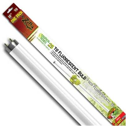 R-Zilla Presents Tropical Flo Bulb 15w 18' T8. Delivers Extra Uvb Light Essential for Strong Bones Color Corrected Visible Light Brightens Reptile Colors Designed for Both Fluorescent, Incandescent Light Fixtures Recreate the Healthy Light of the Tropical Rainforest Standard Terrarium Bulbs Can't Deliver the Heightened Levels of Uvb Radiation Native to a Tropical Habitat, Leaving Rainforest Reptiles Deficient in a Vital Component of Healthy Bone Development. Tropical 25 Bulbs Correct this Deficiency with a Full Dosage of Uvb (25 Microwatts Per Second/Cm2) Along with Essential Uva Light. As a Bonus, Tropical 25's Full-Spectrum Visible Light Output Helps Bring out Subtle Colors in a Reptile's Skin that Makes Everyday Viewing More Dramatic. Tropical 25 Capability is Built into R-Zilla's Complete Family of High Efficiency Bulbs for Most Types of Fluorescent Fixtures (Compact, T5 and T8.) Incandescent Bulb Users also have the Option of a Coil Bulb that Fits a Standard Light Socket. Tropical 25 Bulbs are Designed for 3500 Hours or Twelve Full Months of Average Use. Size-15 Watt 18 Inch T8 / Dimensions-L19.75 W2.00 H1.37 [36433]