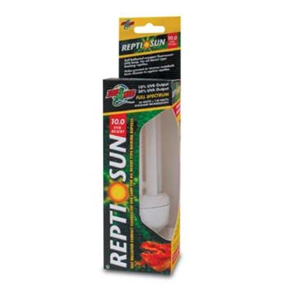 Zoo Med Laboratories Presents 10.0 Compact Flourescent Bulb. The New Reptisun Compact Fluorescent Lamps Use a Special Uvb Transmitting Quartz Glass for Maximum Uvb Penetration. Cool Burning Compact Fluorescent Bulbs Screw into Standard Threaded Sockets, Eliminating the Need for a Separate Ballast. Lamp can be Oriented Either Vertically or Horizontally in your Reptile Hood or Clamp Lamp Fixture. Uvb Emissions Help Prevent or Reverse Metabolic Bone Disease and Uva Increases Feeding, Mating, and Other Natural Behaviors. Reptisun 10.0 is Perfect for all Desert and Basking Reptiles. 10% Uvb Output 30% Uva Output, Full Spectrum. [36435]