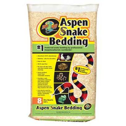 Zoo Med Laboratories Presents Zoo Aspen Snake Bedding 8quart. #1 Preferred Snake Bedding by Professional Herpetoculturists Worldwide! Provides a Safe, Naturalistic Substrate that Allows Snakes, Lizards, and Small Animals to Form Burrows and Nests as they would in the Wild. It has a 191% Absorbency Rating and is Odorless-Safe for all Snakes, Easy to Clean and 99.9% Dust Free. No Toxic Oils Like Cedar and Other Similar Wood Shavings. Aspen Snake Bedding is a Green Product Made from a Renewable Resource. Can also be Used for Birds, Lizards, Tortoises, Turtles, Tarantulas, and Insects. [36540]