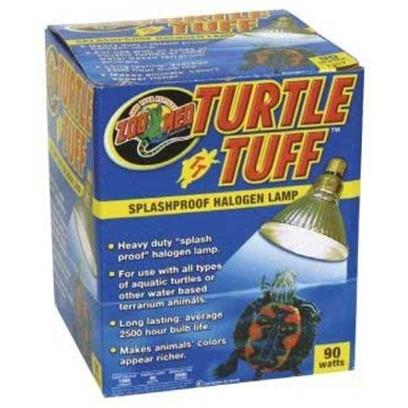 Zoo Med Laboratories Presents Zoo Turtltuf Halogen Lamp Turtletuff 90watt. Heavy Duty &quot;Splash Proof&quot; Halogen Lamp. For Use with all Types of Aquatic Turtles or Other Water Based Terrarium Animals. Long Lasting Average 2500 Hour Bulb Life. [36714]