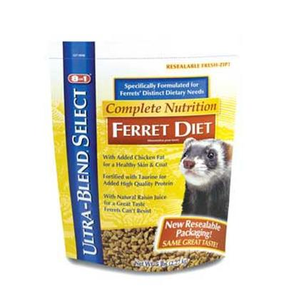 8 in 1 Presents Ferret Ultra Blend Diet (6pc) 2lb. 8in1 is the One-Stop Shopping Supplier for Ferret Products. From a Complete Line of Diets Formulated to Meet Ferrets' Distinct Dietary Needs, to a Wide Array of Treats, Health Care Products and Grooming Products, 8in1 is Sure to Meet the Ferret Owners' Every Need. Ultra-Blend Ferret Diet is a Complete, Balanced Nutrition Formula, Now in a Stand-Up Resealable Pouch. Formulated with Animal Proteins to Supply the Optimum Quality of Amino Acids. Nutritious and Highly Palatable at a Great Value. [36743]