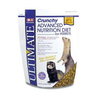 8 in 1 Presents Ferret Ultimate Ultrablend Diet 4.4lb (Stand-Up Bag). 8in1 is the One-Stop Shopping Supplier for Ferret Products. From a Complete Line of Diets Formulated to Meet Ferrets' Distinct Dietary Needs, to a Wide Array of Treats, Health Care Products and Grooming Products, 8in1 is Sure to Meet the Ferret Owners' Every Need. Ultimate Crunchy Diet Now with 45% Protein-the Highest Protein Level Available in a Ferret Diet. Protein is Derived from High Quality Animal Proteins Including Real Chicken and Egg. Formulated with the Optimum Levels of Taurine, Fat and Lanolinic Acid to Provide Energy and a Healthy Coat, with Probiotics to Aid with Digestion. No Artificial Preservatives, Colors or Flavors. [36744]