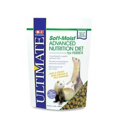 8 in 1 Presents Ferret Soft Moist Diet 1.5lb Bag. 8in1 is the One-Stop Shopping Supplier for Ferret Products. From a Complete Line of Diets Formulated to Meet Ferrets' Distinct Dietary Needs, to a Wide Array of Treats, Health Care Products and Grooming Products, 8in1 is Sure to Meet the Ferret Owners' Every Need. Ultimate Soft-Moist Advanced Nutrition Diet Offers the Unsurpassed Taste of Chewy Soft-Moist Morsels in a High Protein, Low Fiber Real Chicken and Rice Formula. Provides Essential Dietary Variety to Keep Ferrets Stimulated and Interested in their Daily Meal. Great for Finicky Eaters. Ideal for Senior Ferrets with Dental Problems, a Common Problem Found in Older Ferrets. May be Added to Crunchy Diets for Added Taste. [36748]