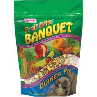 Fm Browns Presents Fruit Bites Guinea Pig Banquet 2lb Pouch 6pc Pouch-6 Pack. Prepare your Pet a Gourmet Feast with Brown's Fruit Bites Banquet. A Fun-Filled Meal and Treat, all-in-One! Our Vitamin Fortified Premium Diet is Jam-Packed with Real Pineapple or Papaya Fruit Bites in Zesty Fruit Flavors. In Addition, We've Added our Sweet and Crunchy Veggie Bites to Make it Extra Delicious. With Fruit Bites Banquet, Feeding Time can be Fun, Exciting, and Nutritious Too! 2 Lb [36753]