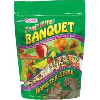 Fm Browns Presents Fruit Bites Ham/Gerbil Banquet 2lb Pouch 6pc. Prepare your Pet a Gourmet Feast with Brown's Fruit Bites Banquet. A Fun-Filled Meal and Treat, all-in-One! Our Vitamin Fortified Premium Diet is Jam-Packed with Real Pineapple or Papaya Fruit Bites in Zesty Fruit Flavors. In Addition, We've Added our Sweet and Crunchy Veggie Bites to Make it Extra Delicious. With Fruit Bites Banquet, Feeding Time can be Fun, Exciting, and Nutritious Too! 2 Lb [36754]
