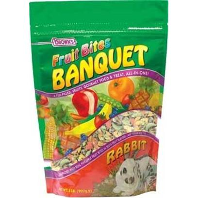 Fm Browns Presents Fruit Bites Rabbit Banquet 2lb Pouch 6pc Pouch-6 Pack. Prepare your Pet a Gourmet Feast with Brown's Fruit Bites Banquet. A Fun-Filled Meal and Treat, all-in-One! Our Vitamin Fortified Premium Diet is Jam-Packed with Real Pineapple or Papaya Fruit Bites in Zesty Fruit Flavors. In Addition, We've Added our Sweet and Crunchy Veggie Bites to Make it Extra Delicious. With Fruit Bites Banquet, Feeding Time can be Fun, Exciting, and Nutritious Too! 2 Lb [36755]