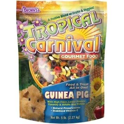 Fm Browns Presents Tropical Carn Gourm Guinea Pig Food 6pc 3lb. Tropical Carnival Gourmet Food is a Vitamin and Nutrient Fortified Food and Treat, all-in-One; that Provides an Enticing and Stimulating Eating Experience for your Pet. We have Created the Ultimate, Super-Premium Gourmet Food; Jam-Packed with a Medley of Delicacies to Satisfy the Hunger Cravings in your Pet. From Mangos to Bananas, Carrots to Peas, Pistachios to Almonds, and Pasta to Macaroni Wheels, we have Added only the Finest Ingredients, as Well as, Beneficial Pro-Biotics to Ensure Proper Digestion. All of this Adds Up to a Great Tasting, Hearty Food your Pet will Find Nutritious and Irresistible. 3 Lb [36765]