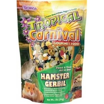 Fm Browns Presents Tropical Carn Gourm 6pc Ham/Gerbil 2lb. Tropical Carnival Gourmet Food is a Vitamin and Nutrient Fortified Food and Treat, all-in-One; that Provides an Enticing and Stimulating Eating Experience for your Pet. We have Created the Ultimate, Super-Premium Gourmet Food; Jam-Packed with a Medley of Delicacies to Satisfy the Hunger Cravings in your Pet. From Mangos to Bananas, Carrots to Peas, Pistachios to Almonds, and Pasta to Macaroni Wheels, we have Added only the Finest Ingredients, as Well as, Beneficial Pro-Biotics to Ensure Proper Digestion. All of this Adds Up to a Great Tasting, Hearty Food your Pet will Find Nutritious and Irresistible. 3 Lb [36767]