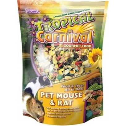 Fm Browns Presents Tropical Carn Gourm Mouse &amp; Rat 2lb 6pc. We've Blended this Special Mix with Everything Mice and Pet Rats Love to Eat Like Fruits, Nuts, Veggies, Seeds, and Grains. No More Finicky, Selective Eaters with this Blend and that Means More Nutrition and Less Waste! 2 Lb [36768]