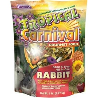 Fm Browns Presents Tropical Carn Gourm Rabbit Food 6pc 5lb. Tropical Carnival Gourmet Food is a Vitamin and Nutrient Fortified Food and Treat, all-in-One; that Provides an Enticing and Stimulating Eating Experience for your Pet. We have Created the Ultimate, Super-Premium Gourmet Food; Jam-Packed with a Medley of Delicacies to Satisfy the Hunger Cravings in your Pet. From Mangos to Bananas, Carrots to Peas, Pistachios to Almonds, and Pasta to Macaroni Wheels, we have Added only the Finest Ingredients, as Well as, Beneficial Pro-Biotics to Ensure Proper Digestion. All of this Adds Up to a Great Tasting, Hearty Food your Pet will Find Nutritious and Irresistible. 3 Lb [36769]
