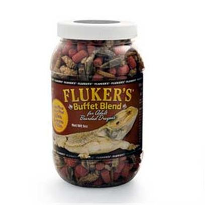 Fluker Labs Presents Fluker Adult Bearded Dragon Buffet Blend 3oz. Complete and Balanced Nutrition Available with this Combination of Freeze Dried Insects and Vitamin Enriched Pellet Formula Diet. [36782]