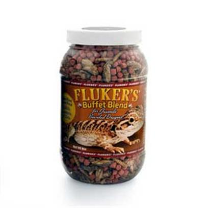 Fluker Labs Presents Fluker Juvenile Bearded Dragon Buffet Blend 8oz. Complete and Balanced Nutrition Available with this Combination of Freeze Dried Insects and Vitamin Enriched Pellet Formula Diet. [36783]