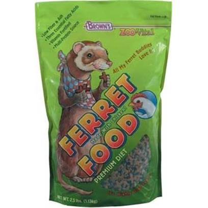 Fm Browns Presents Zoo Vital Ferret Food 2.5lb 6pc. If Ferrets Could Talk, They'd Ask for the Most Nutritious Food Available . They'd Ask for Zoovital. Our Ferret Food is Simply the Best Choice for Every Life Stage and Activity Level of your Ferret's Life. When you Feed our Ferret Food, You'll see your Pet's Good Health Shine through its Eyes, Skin, Activity, and Lustrous Coat. 2.5 Lb [36786]