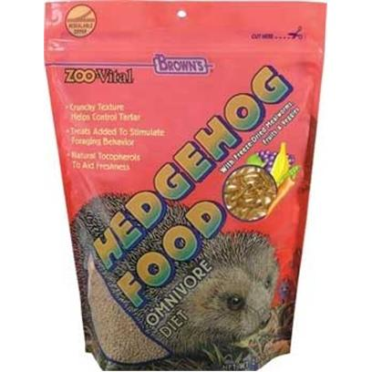Fm Browns Presents Zoo Vital Hedge Hog Food 2lb 6pc. Hedgehogs are Omnivorous, Meaning they will Eat Foods from Both Animal and Plant Origins. Zoovital Fortifed, Low-Iron Diet Provides the Unique, Varied Nutritional Needs that Hedgehogs Require. There are Three Ways the Diet is Unique. First, the Dry Food is a Triple Protein Based Formula that Provides a Crunchy, Balanced Meal that Helps Prevent Tarter from Forming on Teeth. Secondly, We've Added Enticing Texture. The Third is Based on Fruit, Veggies, and Legumes that Make Feeding Time Interesting, Fun, and Healthy. In Addition, Beneficial Bacteria has been Added to Ensure Proper Digestion. 2 Lb [36787]