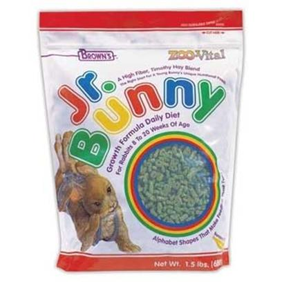 Fm Browns Presents Zoo Vital Jr Bunny Growth 1.5lb 6pc. Young Bunnies, from 8 to 20 Weeks of Age, have Special Nutritional Needs. We've Made Sure Jr. Bunny is the Right Start for your New Juvenile Rabbit. This &quot;Growth Formula Daily Diet&quot; is Specifically Formulated to be Both Complete and Balanced. High Quality Fiber, Vital Proteins, Key Amino Acids, the Proper Vitamins and Minerals, and Beneficial Bacteria for Proper Digestion are all Brought Together to Make Jr. Bunny a Very Special Daily Diet. What an Exciting, Fun Way to Feed your New Bunny and Watch it Grow Up to be Healthy and Happy. 1.5 Lb [36788]