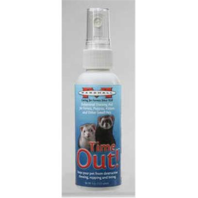 Marshall Presents Time out Training Spray 16oz. Extremely Bitter Training Aid for Ferrets, Puppies, Kittens, and Other Small Pets. Stops Pets from Chewing, Nipping and Biting. Use on Wood, Fabrics, Furniture, Skin, Shoes, Plants, Etc. 4 Oz. [36806]