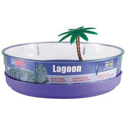 Lee's Presents Deluxe Turtle Lagoon 11x8x3'. The Small TurtleS Home Away from Home if you Want to Enjoy Time with your Turtle Outside her Tank, then the Deluxe Turtle Lagoon is a Great Solution. This Portable Bowl Fitted for Small Turtles is Like an Amphibian Vacation Home, Complete with Decorative Palm Tree. Lagoons are Equipped with a Mini Access Ramp that Ascends to an Internal Lounging and Feeding Area. Housed in a Clear Container Made of Durable Plastic, the Lagoons Feature a Vented Bowl that is Easy to Clean and Maintain. [36841]