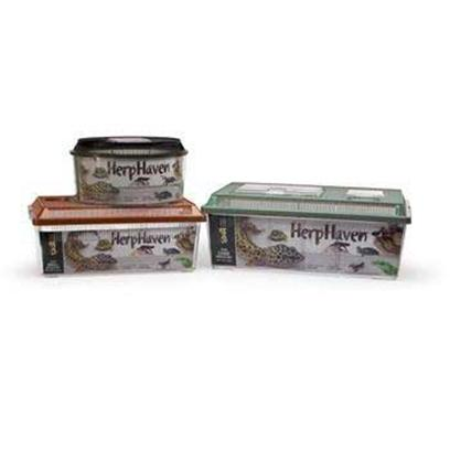 Lee's Presents Herp Haven-Breeder Box Large. Rectangular Herp Havens have Self-Locking Lids with Hinged Viewer/Feeder Windows, and Airline Access Hole and an Attachment Hole (Except Mini, and Small Sizes). The Mini, Small and Medium Sizes have Carrying Handles for Easy Transport. Herp Haven Breeder Box has a Removable Divider Plus, and Extra-Large Access Door in the Lid Containing an Electrical Cord Inlet Opening. Herp Haven Breeder Boxes are Available in Three Sizes Round, Smallrectangle and Large Rectangle. Can Use as a Carrier, Terrarium or Nursery. They are the Ideal Carrier for Various Species of Reptiles and Amphibians. Size 14-3/8&quot; Long X 8-9/16&quot; Wide X 5-15/16&quot; High [36849]