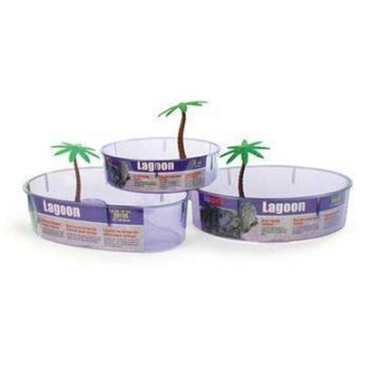 "Lee's Presents Turtle Lagoon-Kidney X 3') (14 10. Standard with an Access Ramp Leading to an Elevated Lounging/Feeding Area and a Decorative Palm Tree. Size 14"" Dia. X 10-1/8"" X 3"" High Packaging Label [36874]"